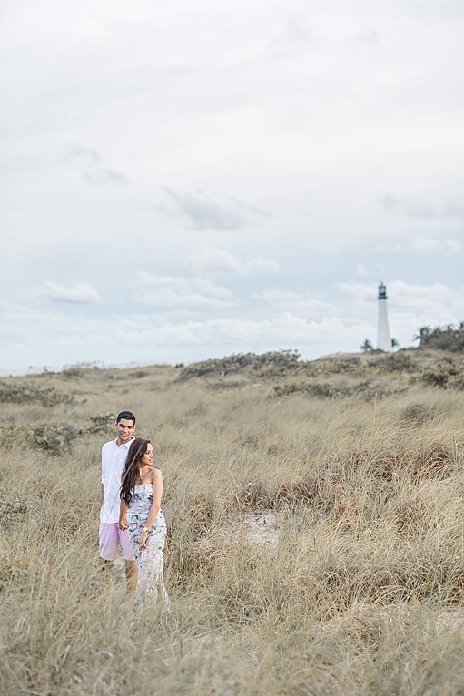 Key Biscayne engagement photo by lighthouse